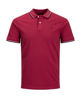 JJECONTRAST POLO BRICK RED J&J